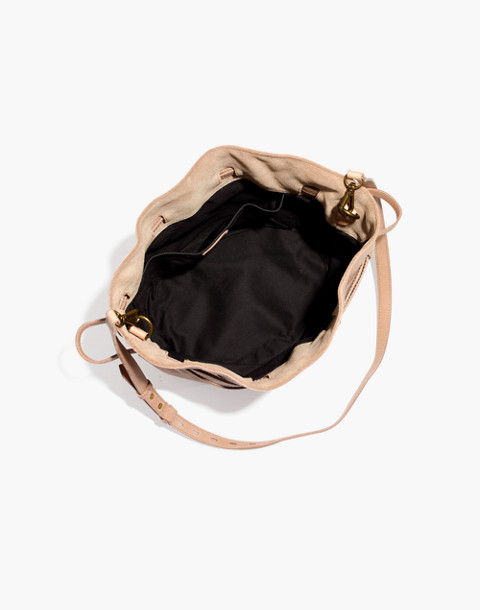 The Florence Drawstring Bucket Bag in Leather in faded wicker image 2