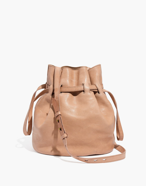 The Florence Drawstring Bucket Bag in Leather in faded wicker image 1