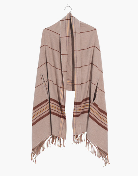 Placed Plaid Cape Scarf in dark camel multi image 1