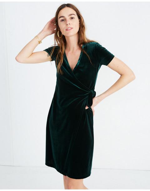 Velvet Side-Tie Dress in smoky spruce image 1