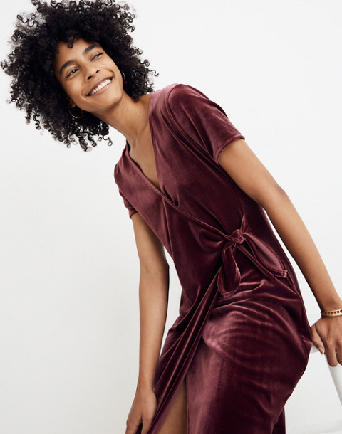 Velvet Side-Tie Dress in pinot noir image 2