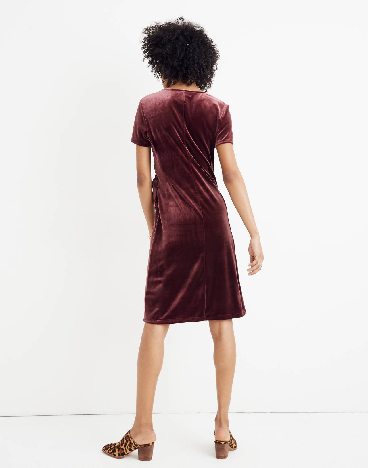 Velvet Side-Tie Dress in pinot noir image 3