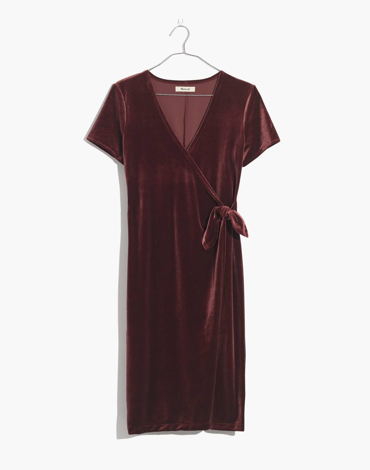 Velvet Side-Tie Dress in pinot noir image 4
