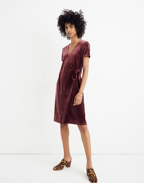 Velvet Side-Tie Dress in pinot noir image 1