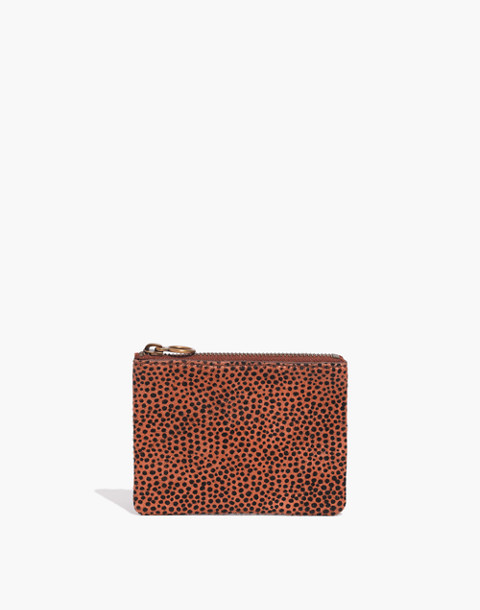 The Leather Pouch Wallet in Spotted Calf Hair in bittersweet image 1