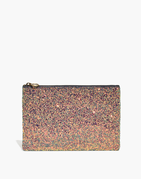 The Leather Pouch Clutch in Glitter in violet multi image 1