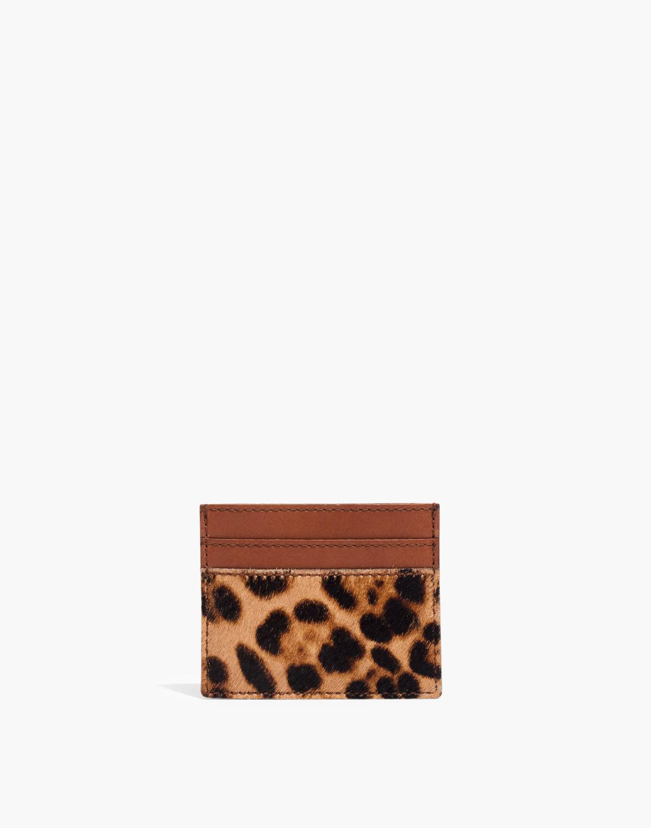 The Leather Card Case in Leopard Calf Hair in truffle multi image 1