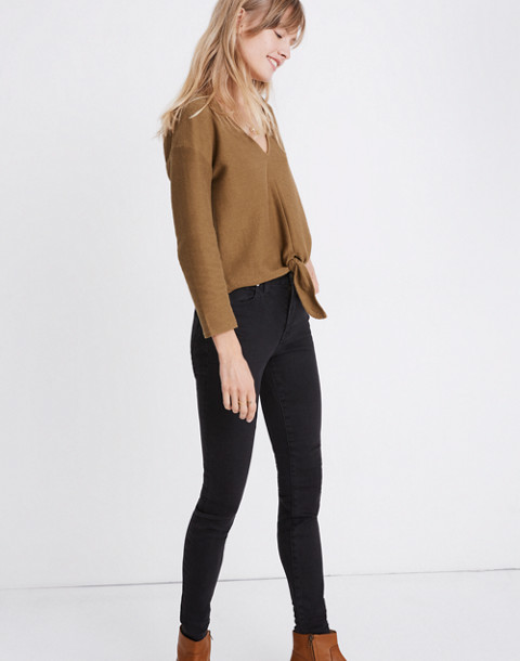 Texture & Thread Long-Sleeve Tie-Front Top in asparagus image 2