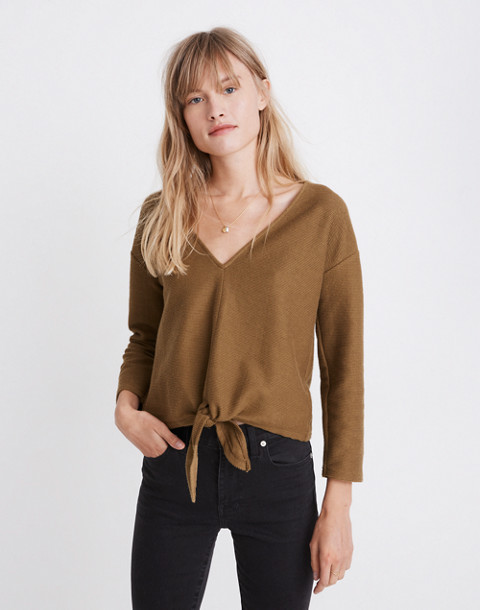 43f53247cd20f8 Texture & Thread Long-Sleeve Tie-Front Top in asparagus ...