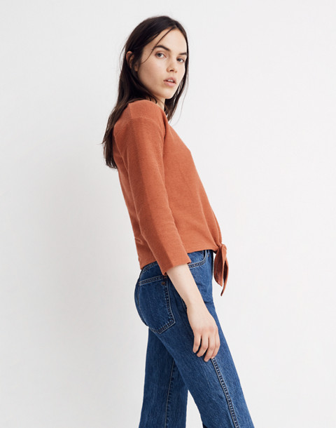 Texture & Thread Long-Sleeve Tie-Front Top in afterglow red image 2