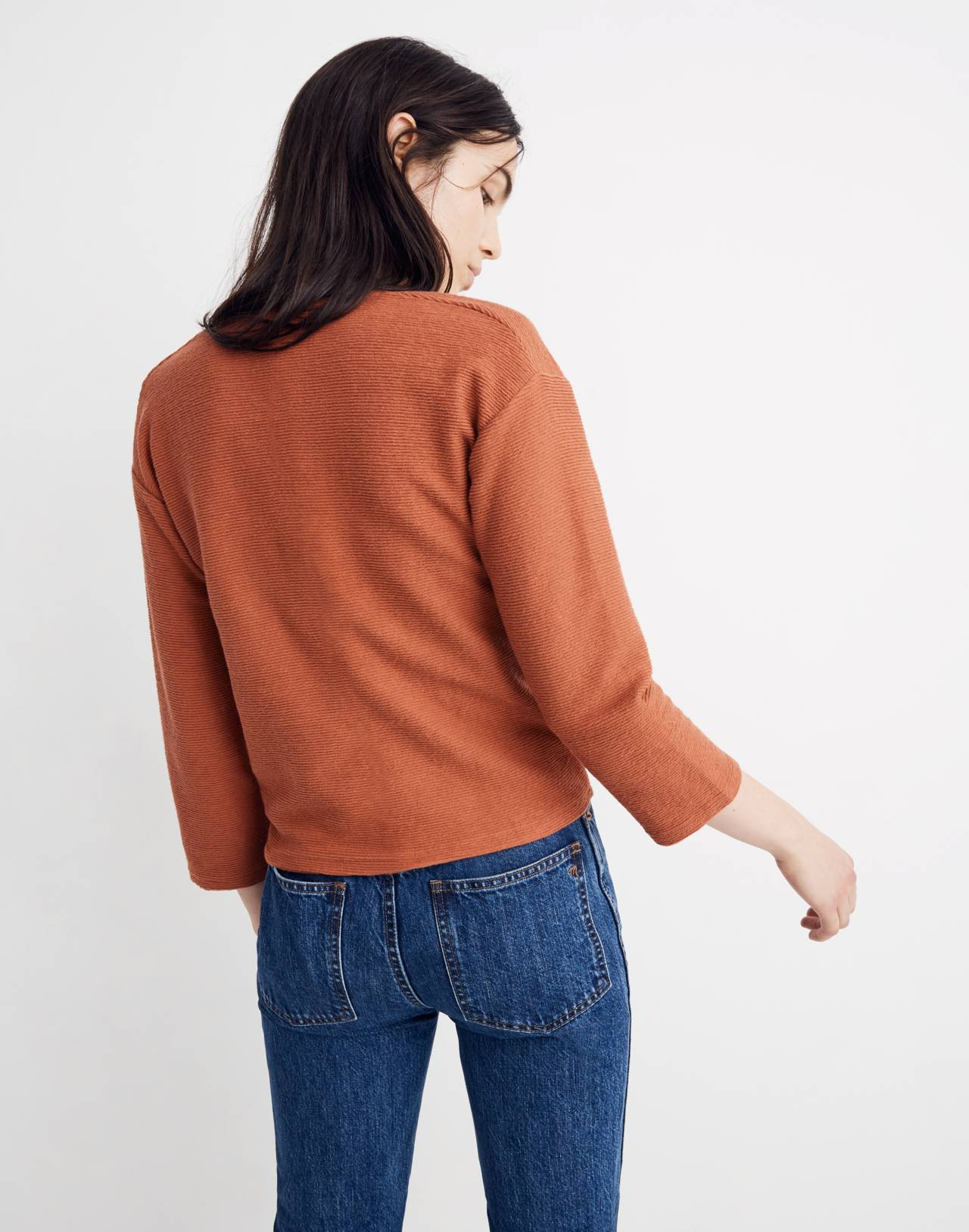 Texture & Thread Long-Sleeve Tie-Front Top in afterglow red image 3