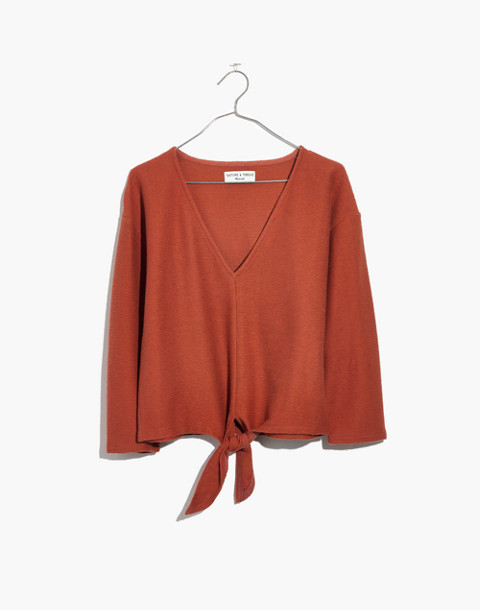 Texture & Thread Long-Sleeve Tie-Front Top in afterglow red image 4