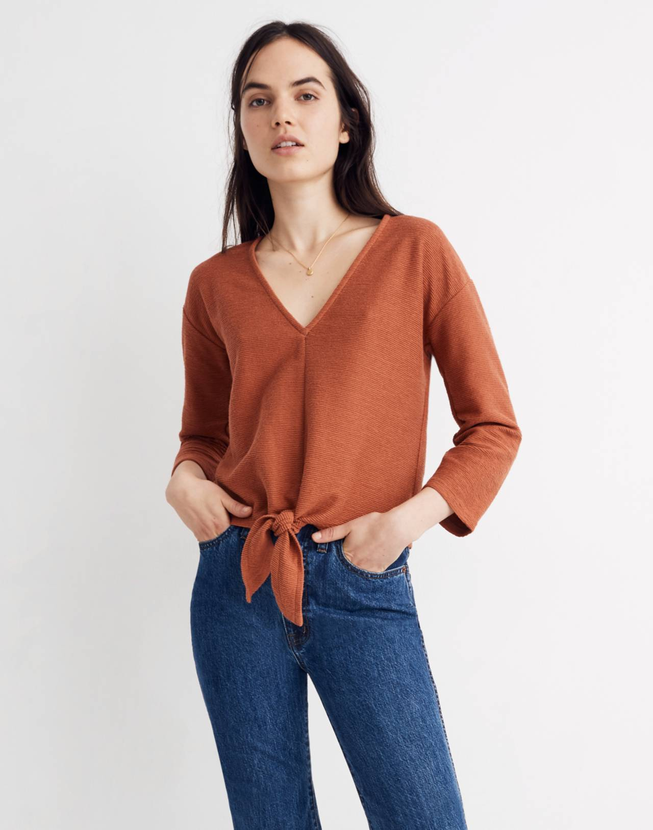 Texture & Thread Long-Sleeve Tie-Front Top in afterglow red image 1