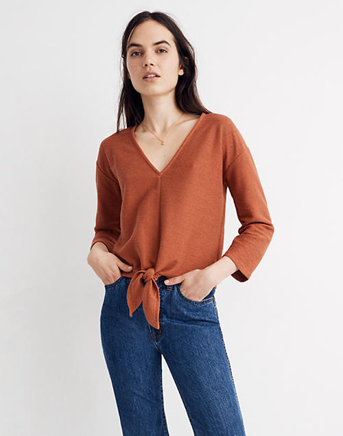 a8bbabf1df0f84 Texture & Thread Long-Sleeve Tie-Front Top in afterglow red ...