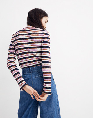 Button-Sleeve Tee in Elsie Stripe in pearl ivory image 3