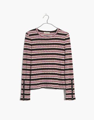Button-Sleeve Tee in Elsie Stripe in pearl ivory image 4