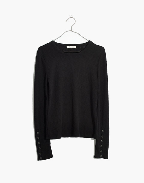 Button-Sleeve Tee in true black image 1