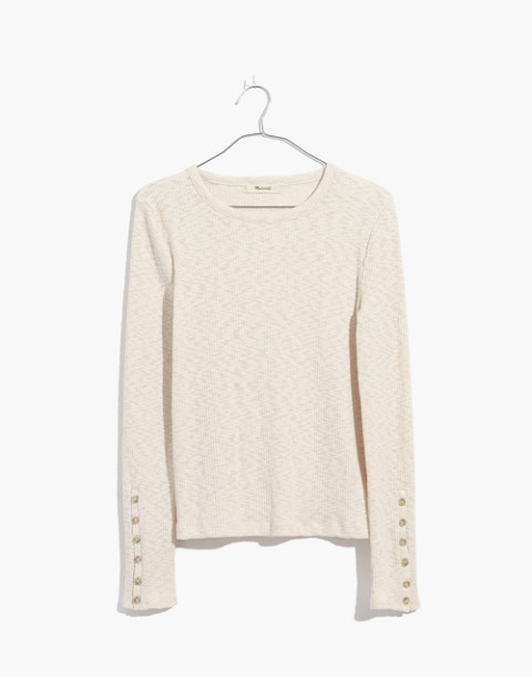 Button-Sleeve Tee in antique cream image 4