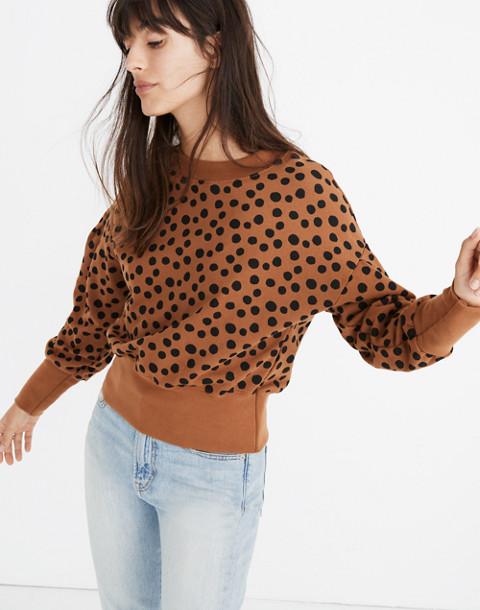 Pleat-Sleeve Sweatshirt in Leopard Dot in burnt sienna leopard dot image 3