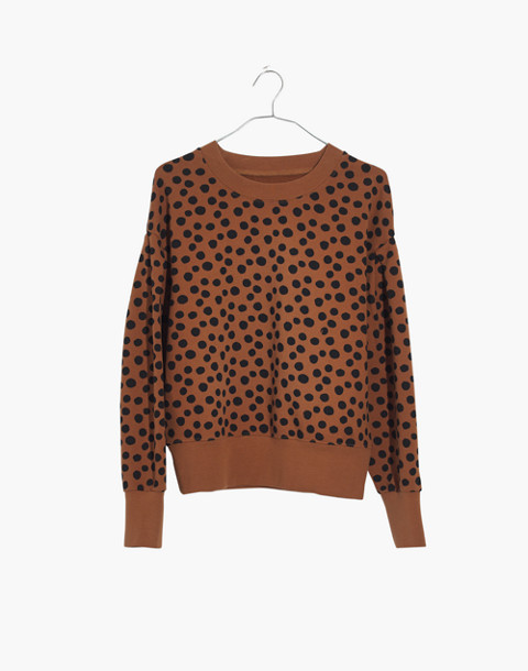 Pleat-Sleeve Sweatshirt in Leopard Dot in burnt sienna leopard dot image 4