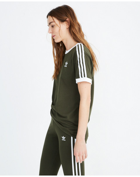 Adidas® Originals 3-Stripes Tee in green stripe image 2