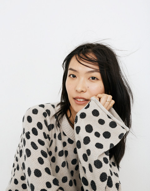 Leopard Dot Pullover Sweater in heather biscuit image 1