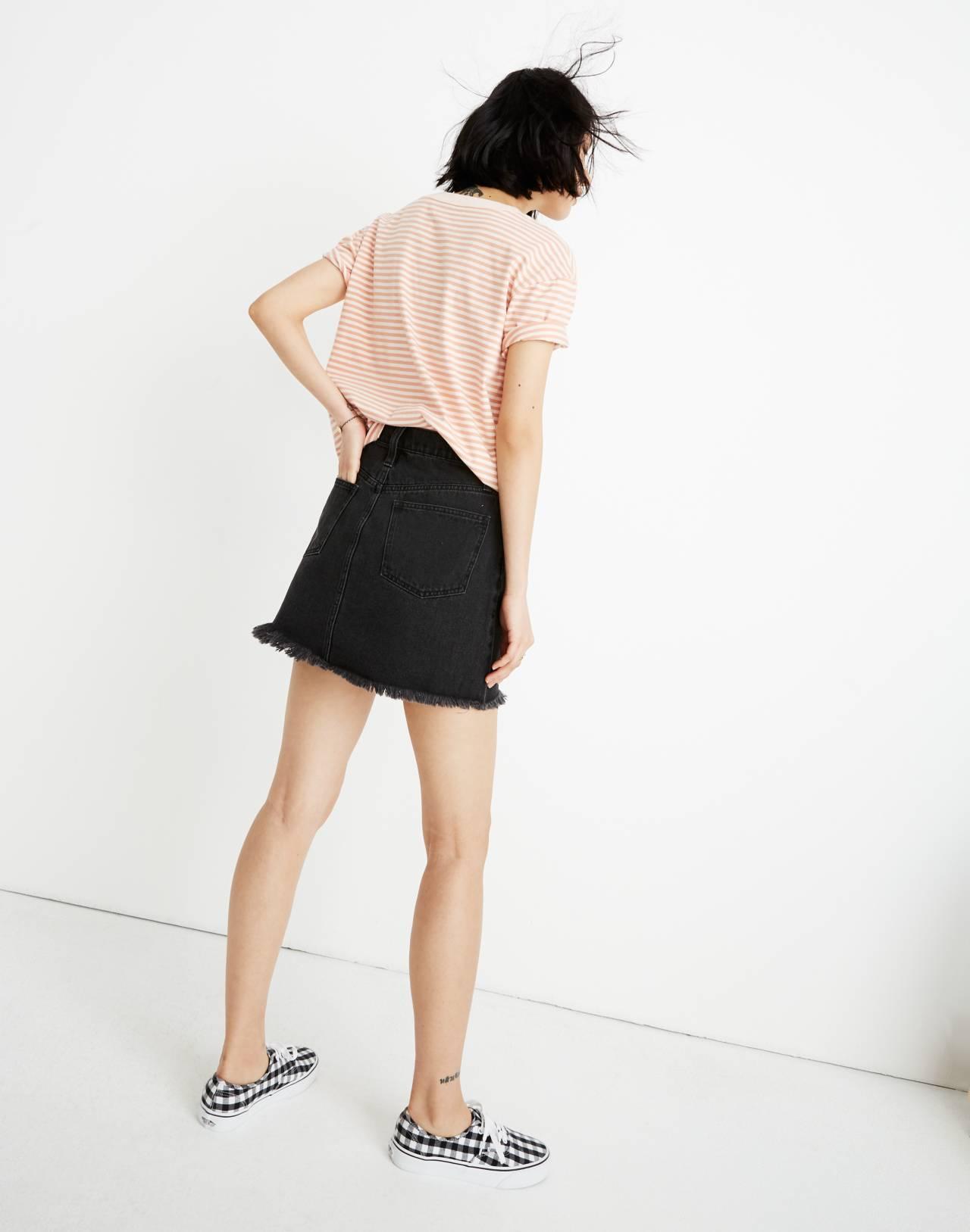 Rigid Denim A-Line Mini Skirt in Lunar Wash: Cutout Edition in lunar wash image 2