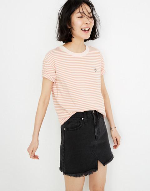Rigid Denim A-Line Mini Skirt in Lunar Wash: Cutout Edition in lunar wash image 3
