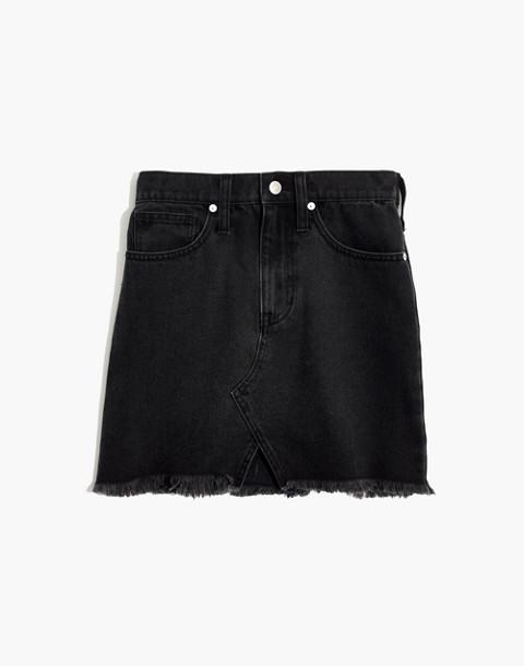 Rigid Denim A-Line Mini Skirt in Lunar Wash: Cutout Edition in lunar wash image 4
