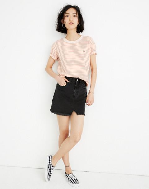 Rigid Denim A-Line Mini Skirt in Lunar Wash: Cutout Edition in lunar wash image 1