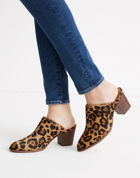 The Harper Mule in Leopard Calf Hair in truffle multi image 2