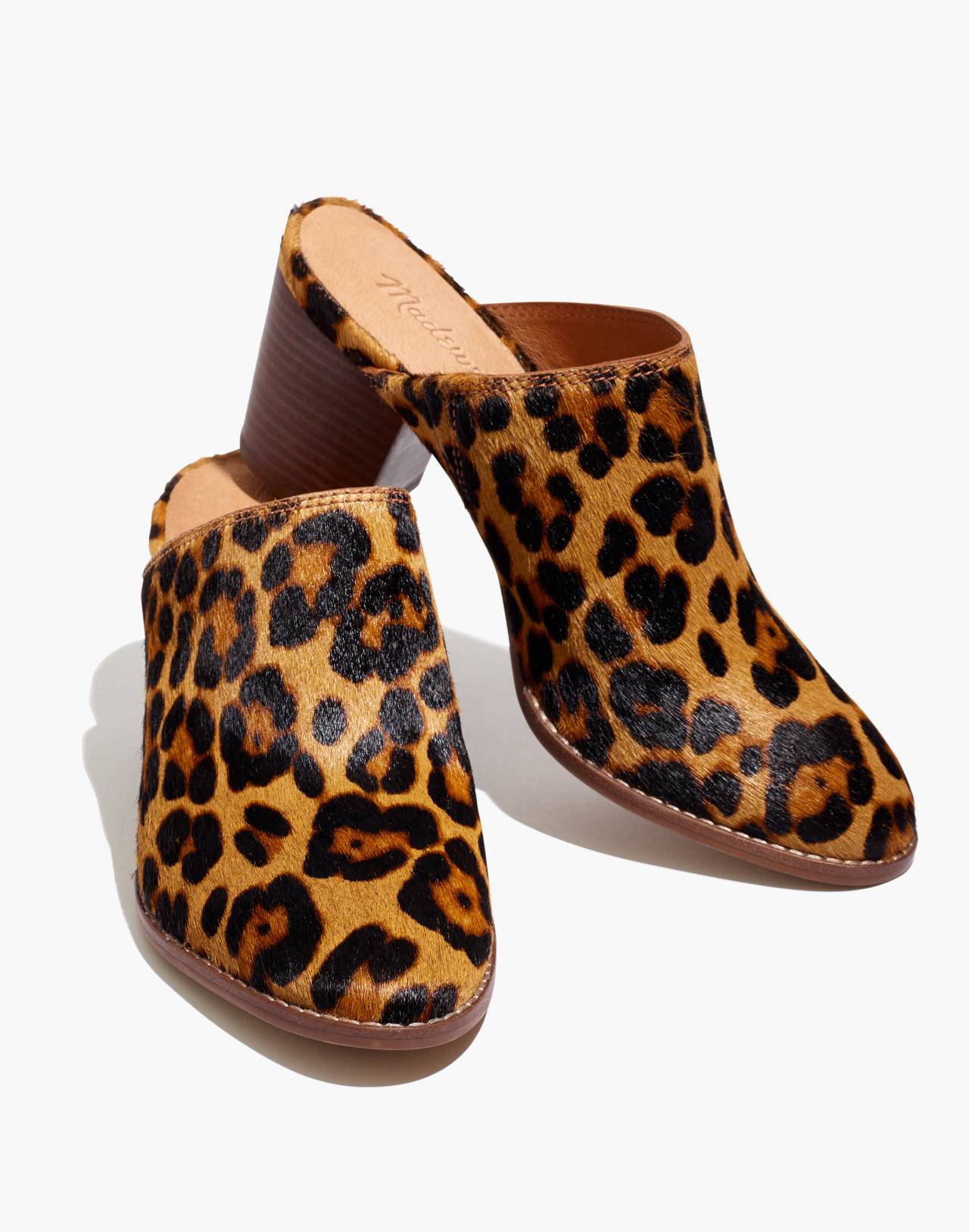 The Harper Mule in Leopard Calf Hair in truffle multi image 1