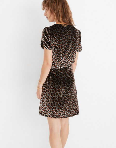 Velvet Wrap Dress in Petite Blooms in calico true black image 3
