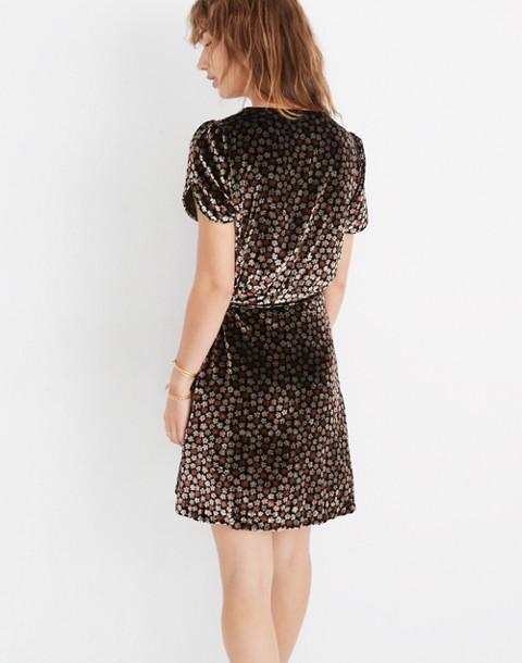 Velvet Wrap Dress in Petite Blooms in calico true black image 3