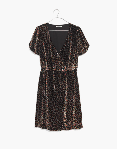 Velvet Wrap Dress in Petite Blooms in calico true black image 4