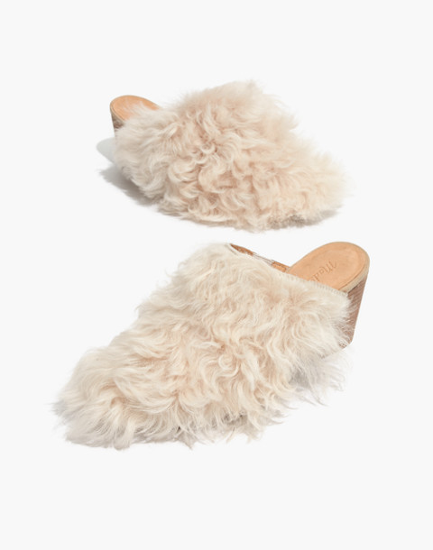 The Harper Mule in Mongolian Shearling in hthr sand image 1