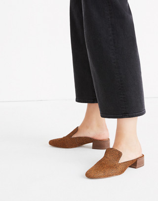 The Willa Loafer Mule in Spotted Calf Hair in bittersweet image 2