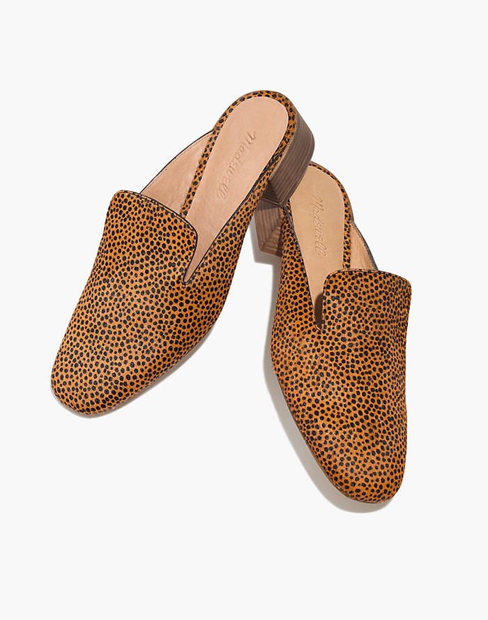 0ca2ceaf869 The Willa Loafer Mule in Spotted Calf Hair