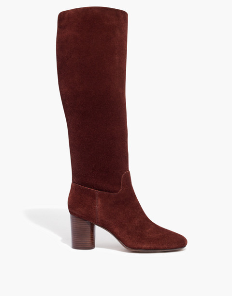 The Scarlett Tall Boot in Suede in rich brown image 3