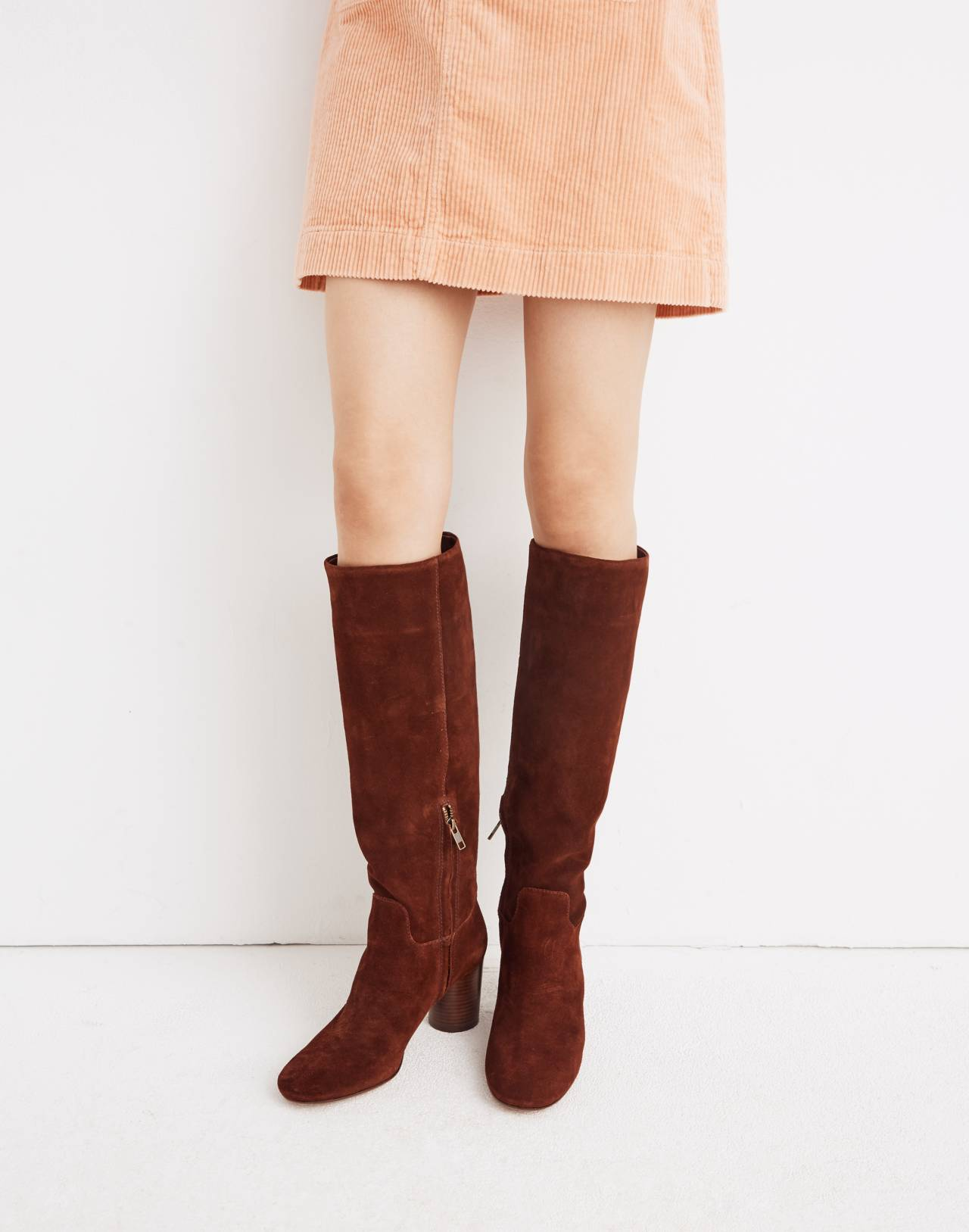 The Scarlett Tall Boot in Suede in rich brown image 2
