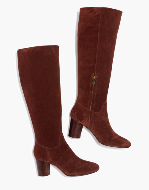 The Scarlett Tall Boot in Suede in rich brown image 1