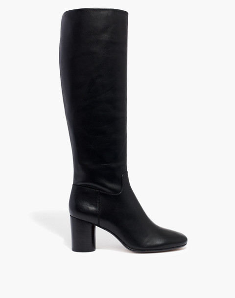 The Scarlett Tall Boot in Leather with Extended Calf in true black image 2