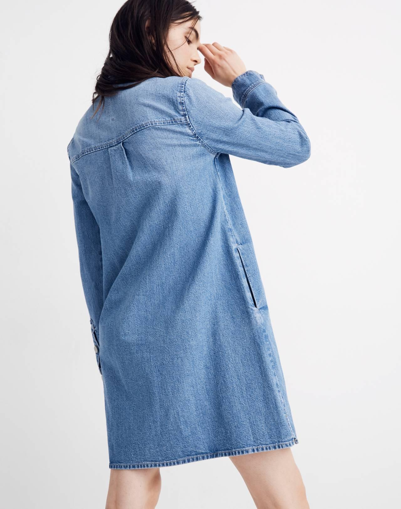 Denim Zip-Front Shirtdress in lenore wash image 3