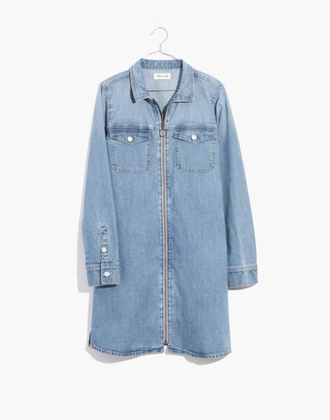 Denim Zip-Front Shirtdress in lenore wash image 4