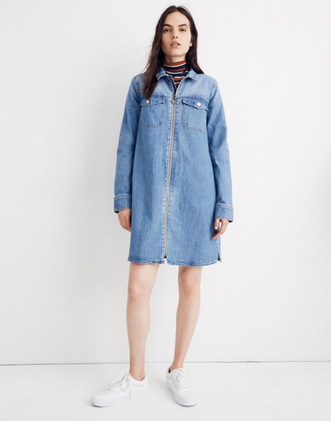 Denim Zip-Front Shirtdress in lenore wash image 1