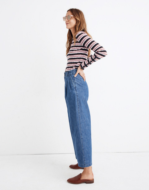 Pleated Wide-Leg Jeans in willowdale wash image 2