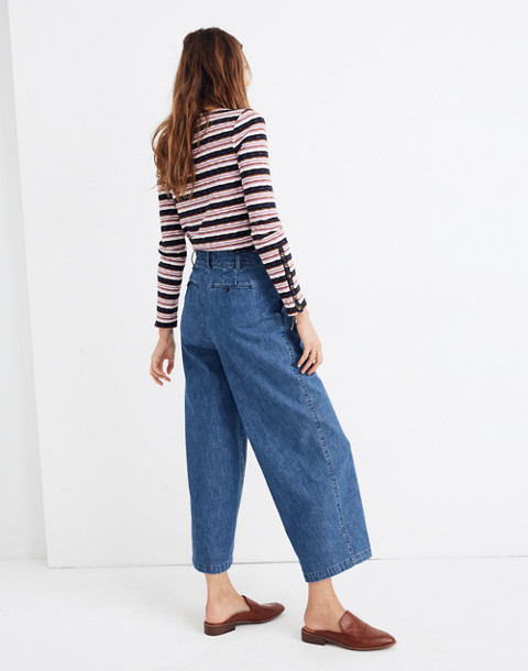 Pleated Wide-Leg Jeans in willowdale wash image 3