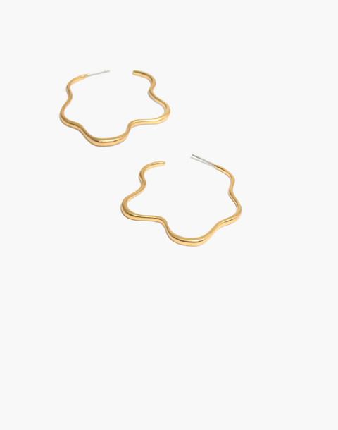 Wavy Hoop Earrings in vintage gold image 1