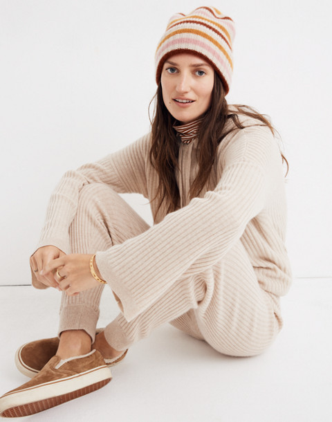 Cashmere Ribbed Jogger Pants in heather powder image 2