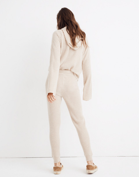 Cashmere Ribbed Jogger Pants in heather powder image 3